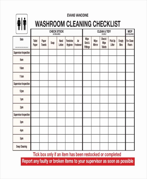 Bathroom Cleaning Checklist Template Best Of Pdf Checklist Hourly Restroom