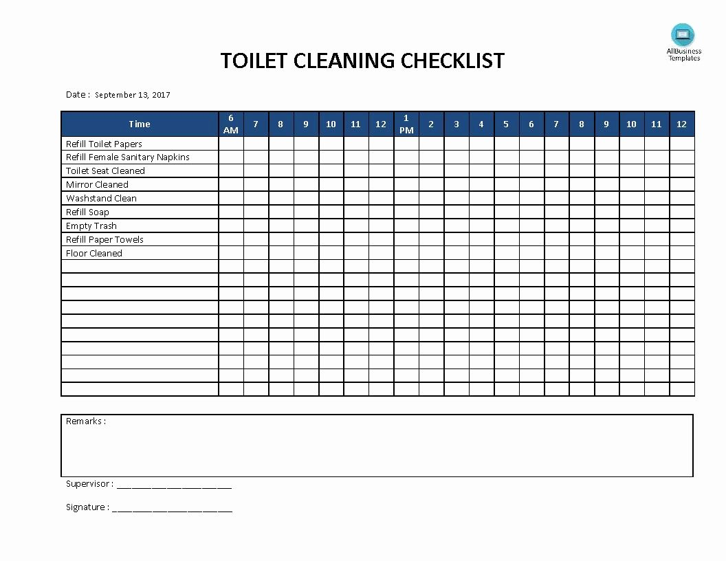 Bathroom Cleaning Checklist Template Unique Free toilet Cleaning Checklist