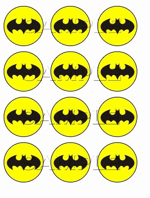 Batman Cake Template Beautiful Items Similar to Batman Edible Cupcake toppers On Etsy