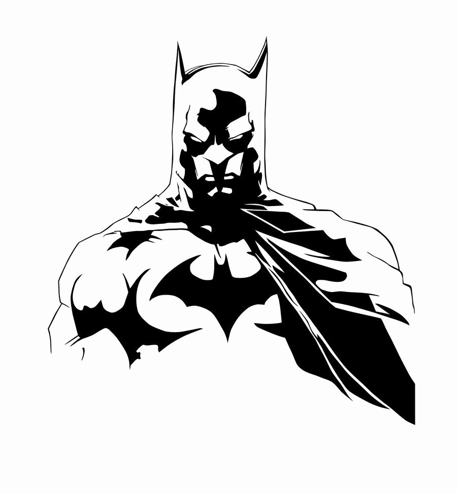 Batman Stencil Art Awesome Batman Black and White by Larseliasnielsenviantart