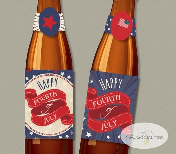 Beer Bottle Neck Label Template Awesome Printable Bottle Labels 4th Of July Printable Beer or soda