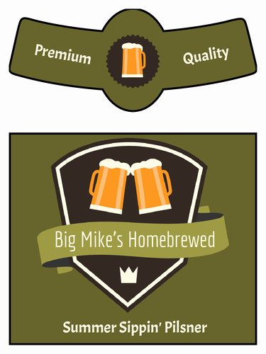 Beer Bottle Neck Label Template Lovely Summer Sippin Pilsner Traditional Beer Bottle Label