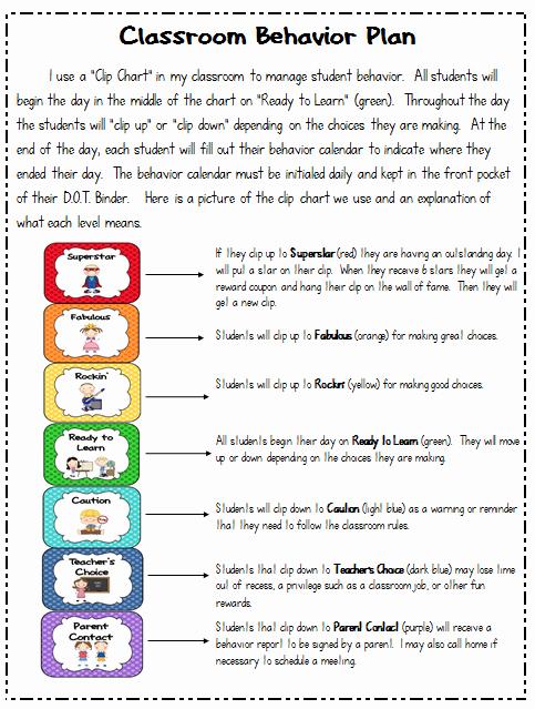 Behavior Plan Template for Elementary Students Luxury Classroom Behavior Plan Mrs Dumas 2nd Grade