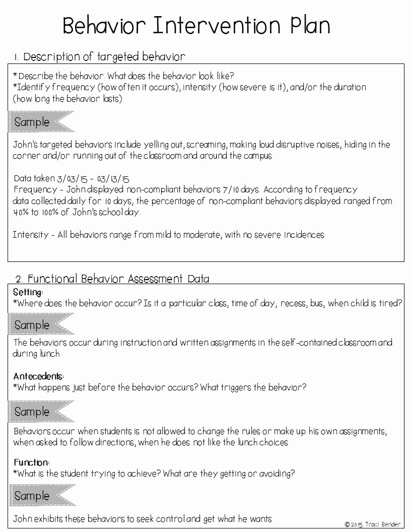Behavior Plan Template for Elementary Students Unique the Bender Bunch Creating A Behavior Intervention Plan Bip