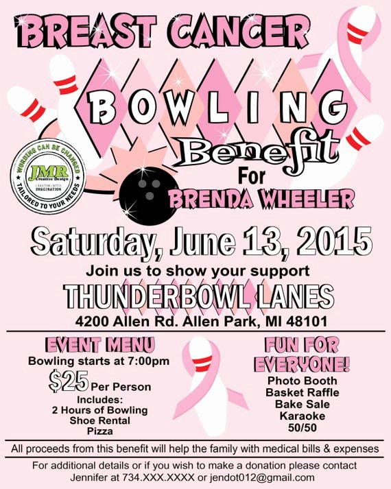 Benefit Flyer Template Unique Breast Cancer Bowling Benefit Flyer Fundraiser Flyer Strike
