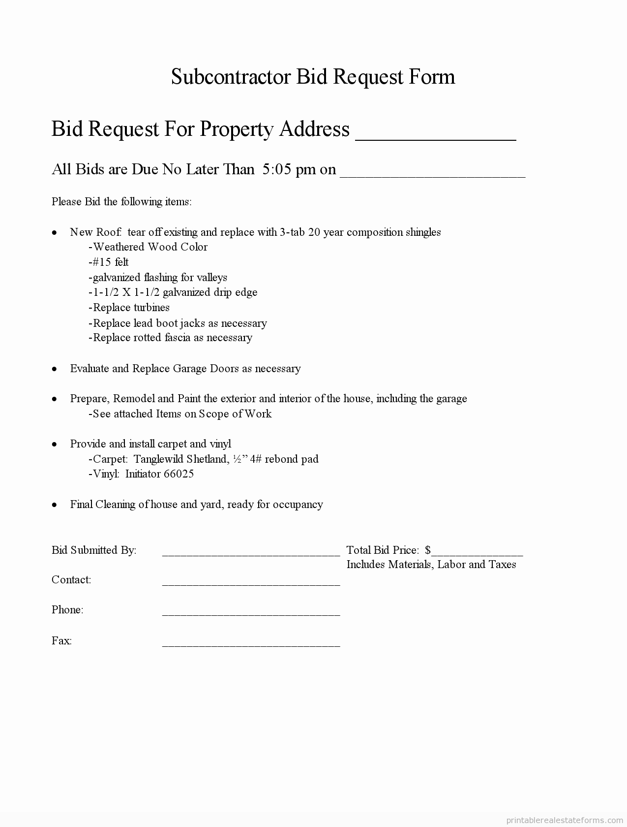 Bid Request form Template Elegant Printable Subcontractor Bid Request form and Standardized