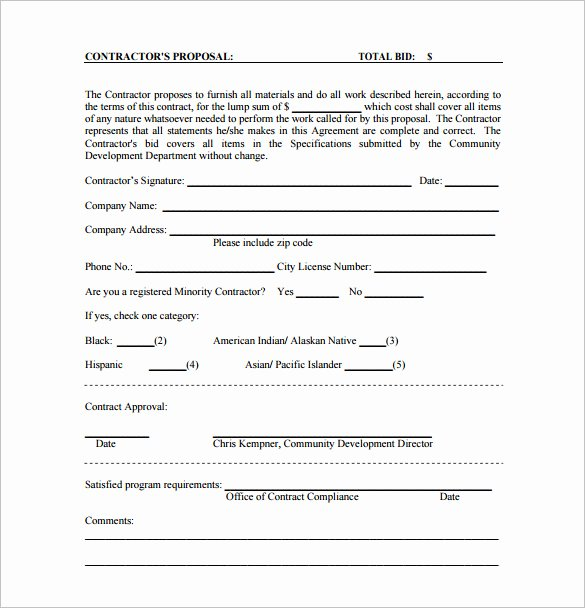 Bid Request form Template New Bid Proposal Template 16 Free Sample Example format