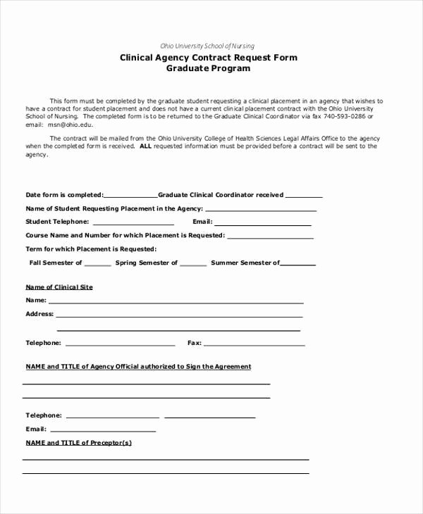 Bid Request form Template Unique Contract form Templates
