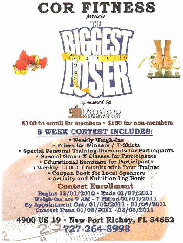 Biggest Loser Contest Flyer Template Elegant the Biggest Loser Challenge at Cor Fitness Sponsored by