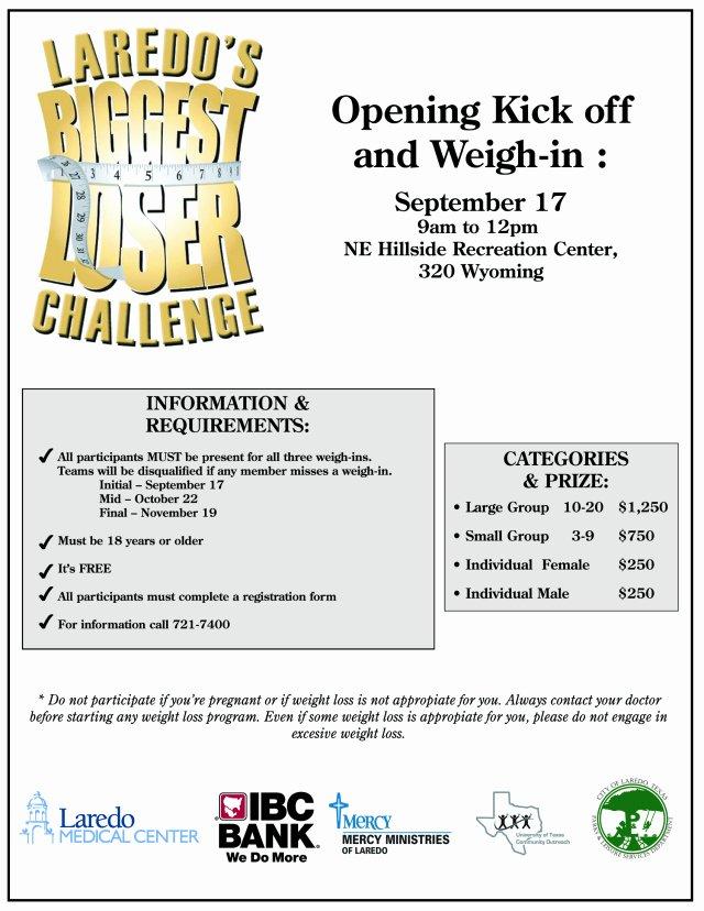 Biggest Loser Contest Flyer Template Unique Laredo's Biggest Loser Challenge Part Deux