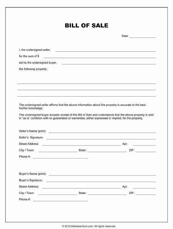 Bill Of Sale Template Free Beautiful Free Printable Equipment Bill Sale Template form Generic