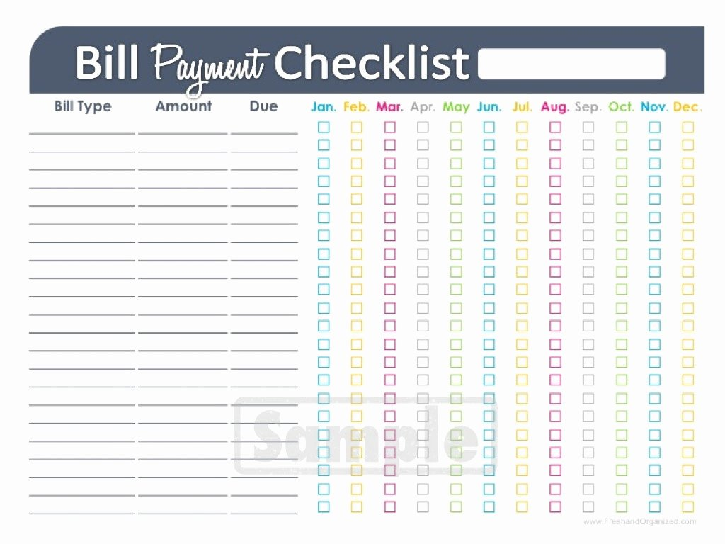Bill organizer Spreadsheet Awesome Bill Payment Checklist Printable Editable by Freshandorganized