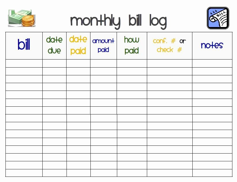 Bill organizer Spreadsheet Awesome I Heart Crafting Printables