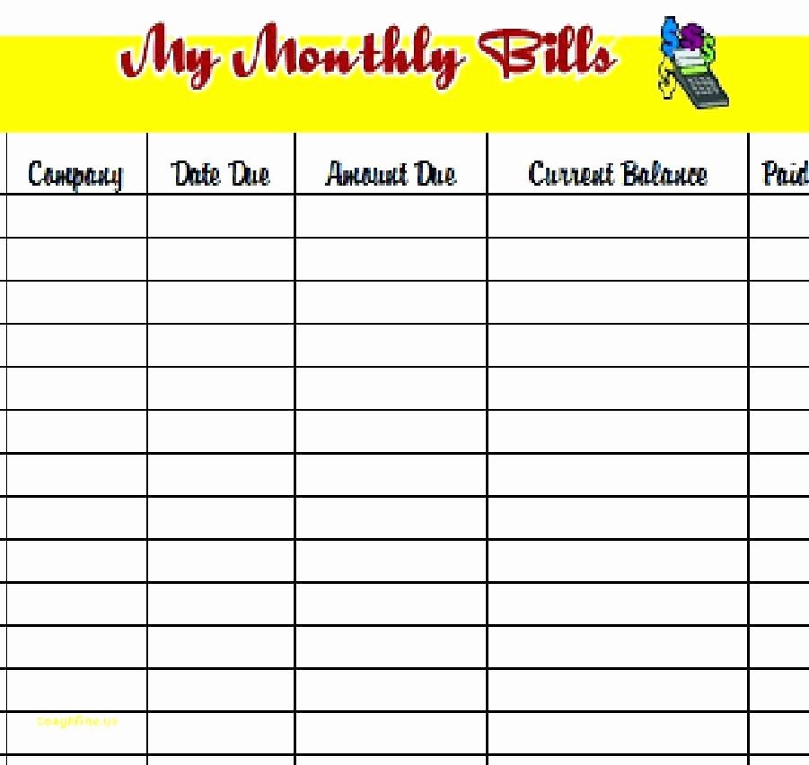Bill organizer Spreadsheet Awesome Monthly Bill organizer – Friendlyga