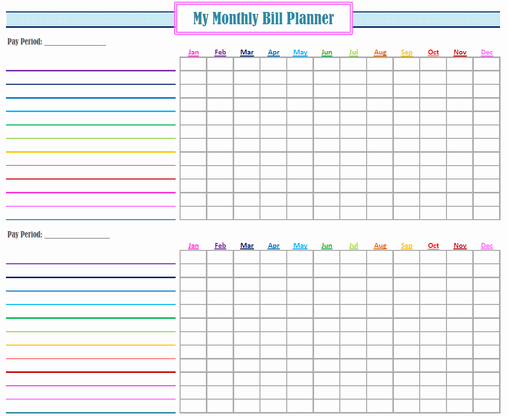 Bill organizer Spreadsheet Beautiful Monthly Bill organizer Printable