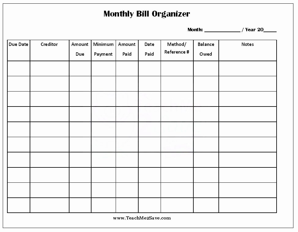 Bill organizer Spreadsheet Elegant Free Printable Monthly Bill organizer Teachme2save