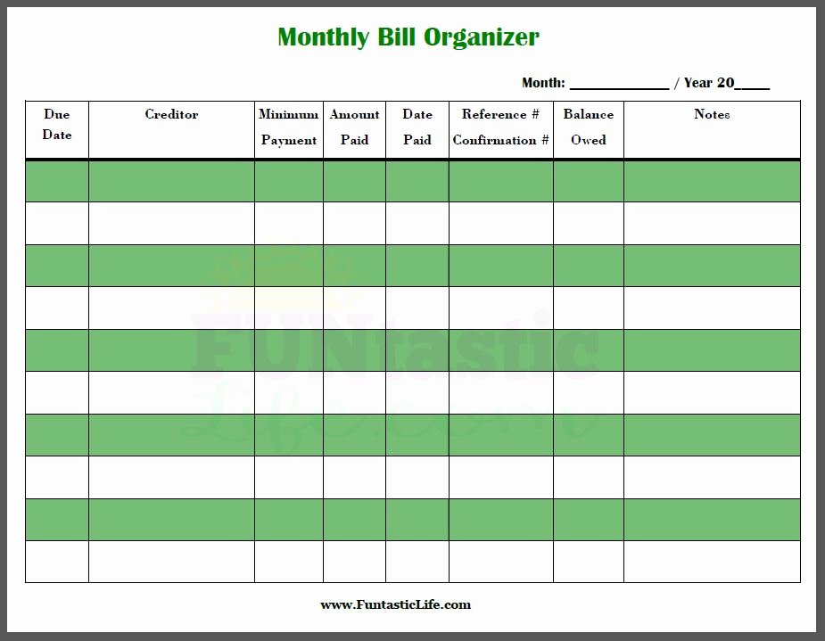Bill organizer Spreadsheet Fresh Free Printable Monthly Bill organizer Funtastic Life