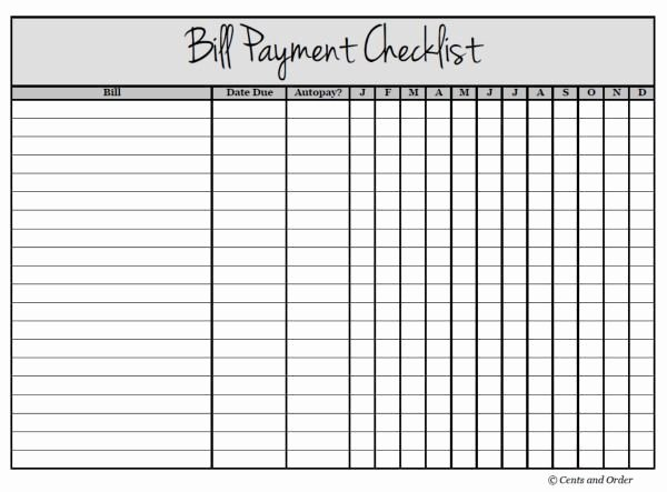 Bill Pay Spreadsheet Awesome Get Your Finances organized with A Bill Payment Checklist