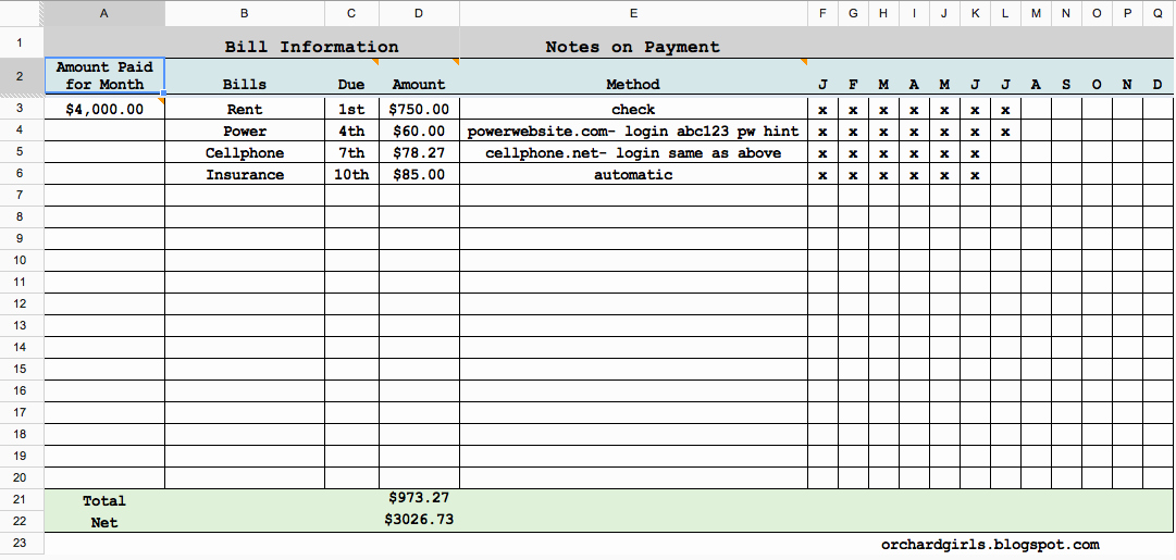 Bill Pay Spreadsheet Lovely orchard Girls Free Printables