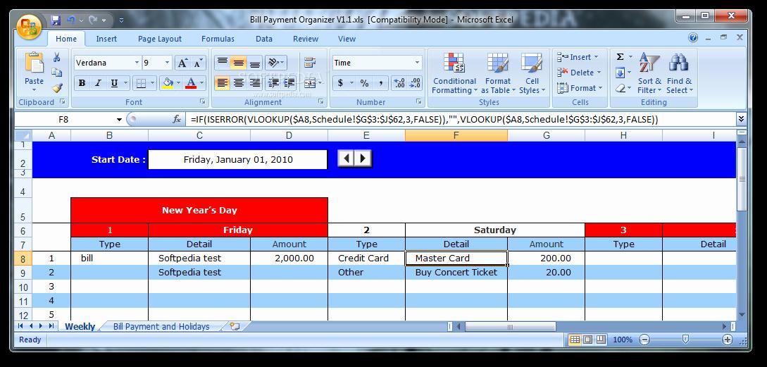 Bill Pay Spreadsheet Luxury Download Bill Payment organizer 1 1