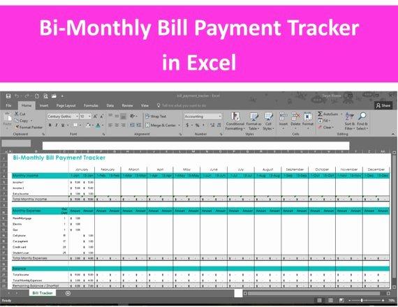 Bill Pay Spreadsheet New Bi Monthly Bill Payment Tracker Excel Spreadsheet Editable