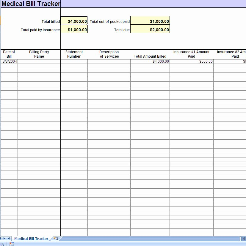 Bill Tracker Excel Template Awesome Medical Expense Tracking