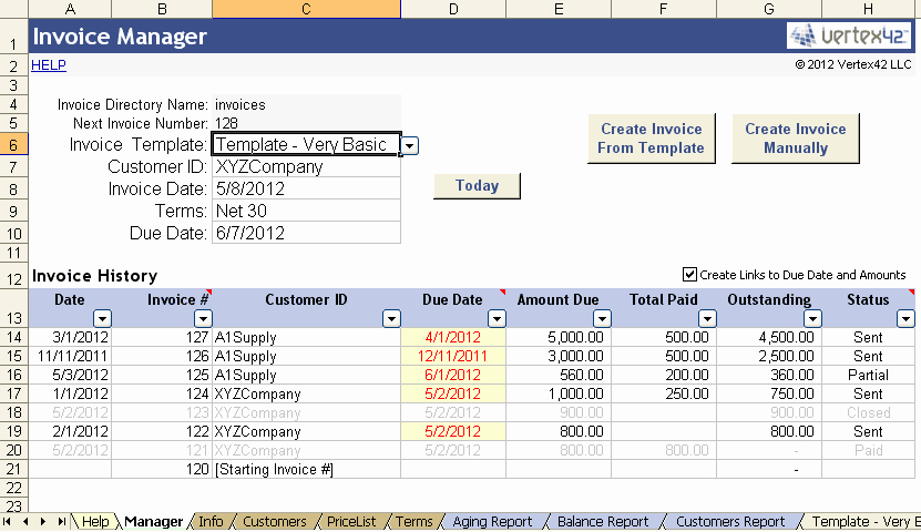 Bill Tracker Excel Template Awesome Vertex42 Invoice assistant Invoice Manager for Excel