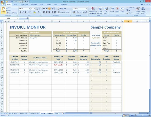 Bill Tracker Excel Template Beautiful Invoice Tracking Template Excel
