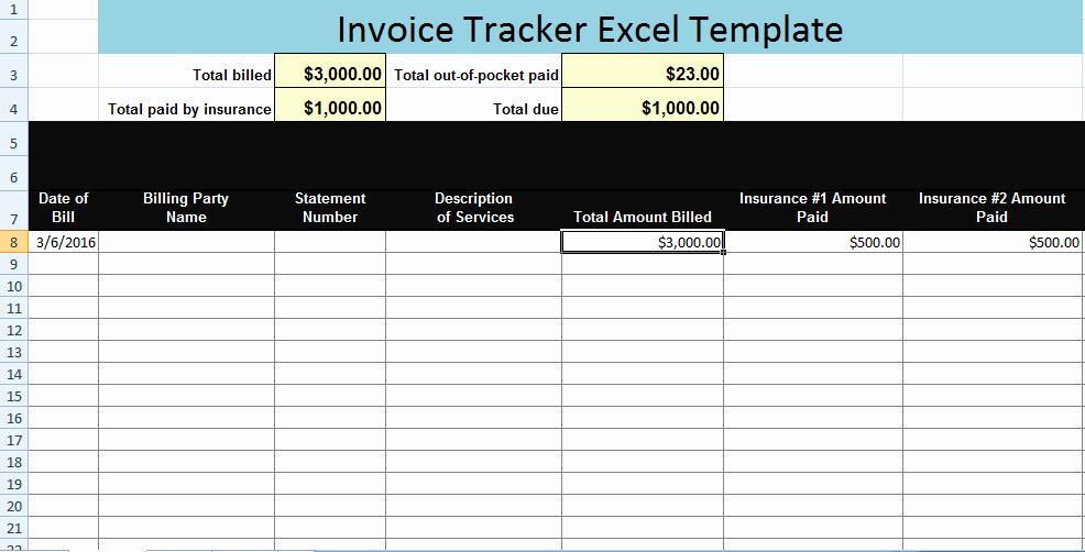 Bill Tracker Excel Template Unique Invoice Tracker Excel Template Xls