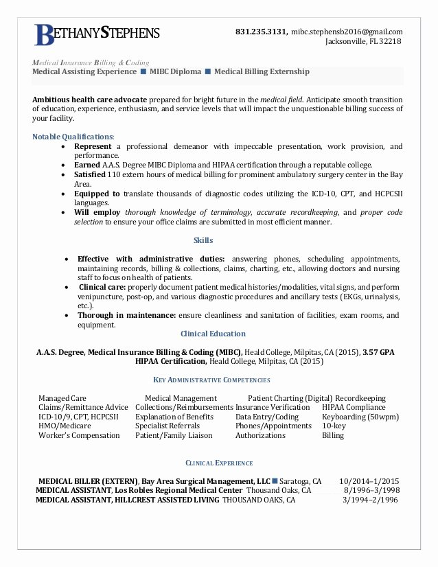 Billing and Coding Resume Awesome Bethany Stephens Medical Insurance Billing Coding Resume