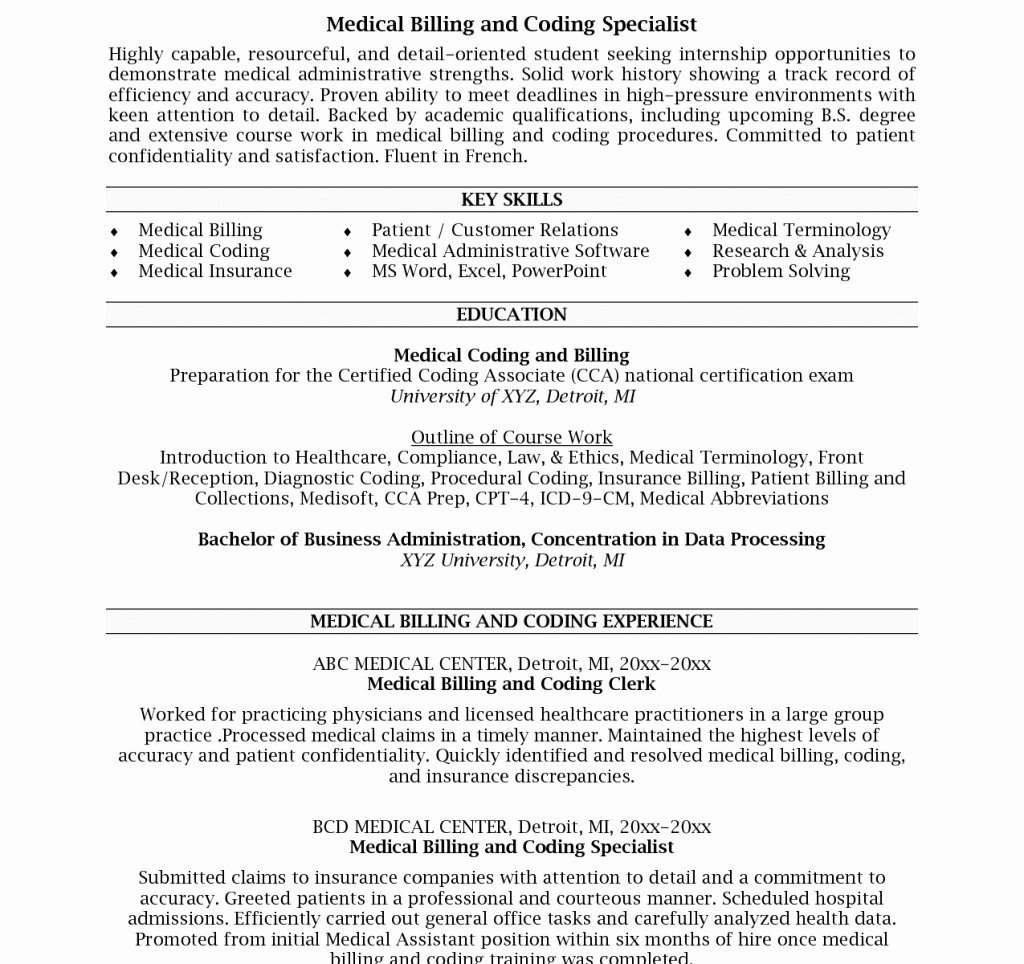 Billing and Coding Resume Awesome Medical Billing Specialist Resume Examples Hirnsturm