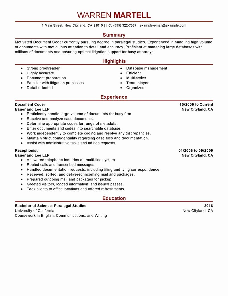 Billing and Coding Resume Fresh Sample Resumes for Medical Billing and Coding Specialist