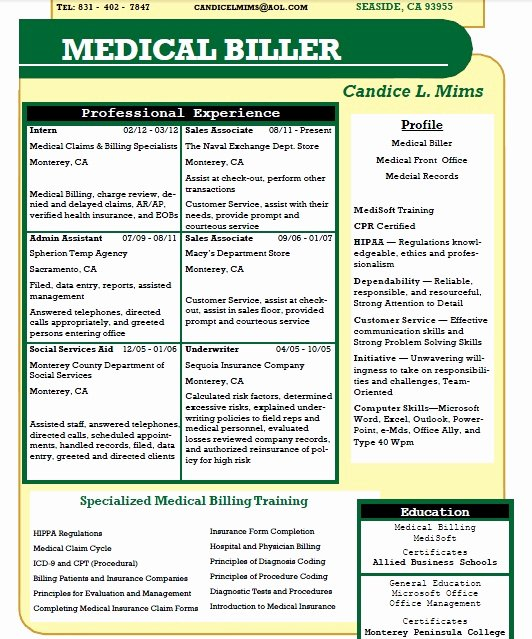 Billing and Coding Resume Lovely Candice L Mims Allied Student Resume Medical Billing