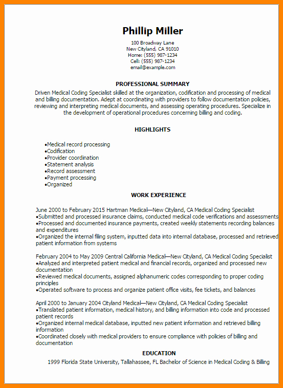 Billing and Coding Resume Luxury 7 Medical Billing and Coding Resumes