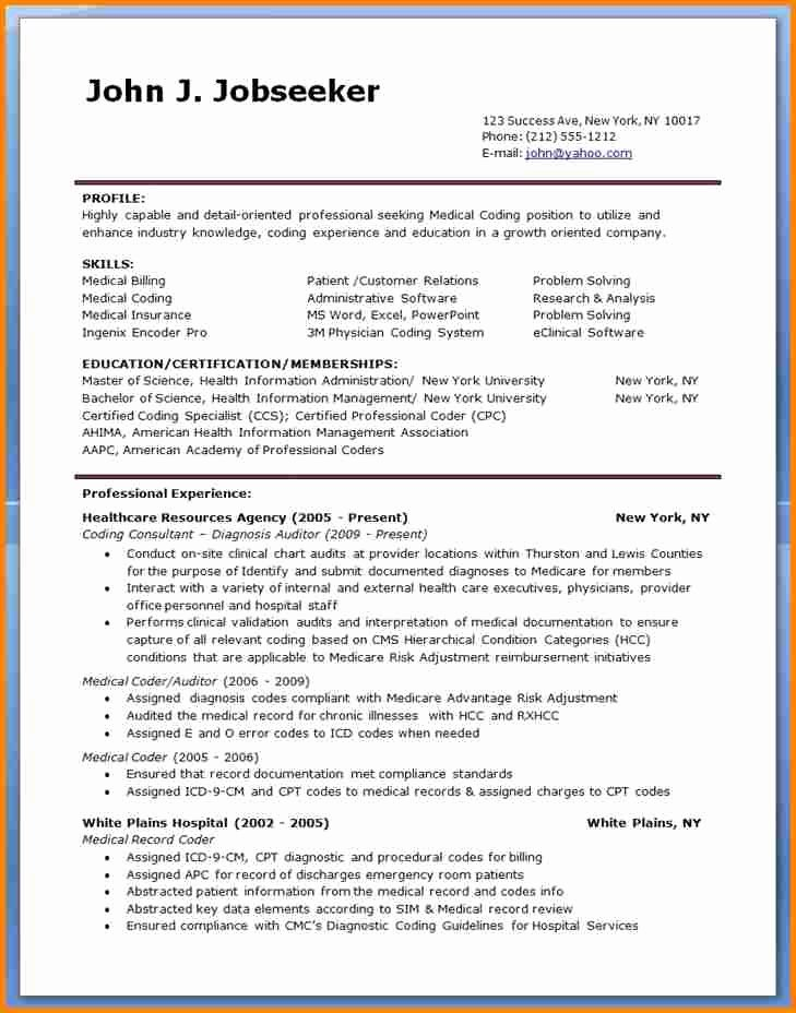 Billing and Coding Resume New 5 Sample Resume for Medical Billing Specialist