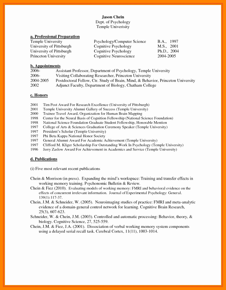 Biographical Sketch Example for Scholarship Awesome Biographical Sketch Example for Students and format with
