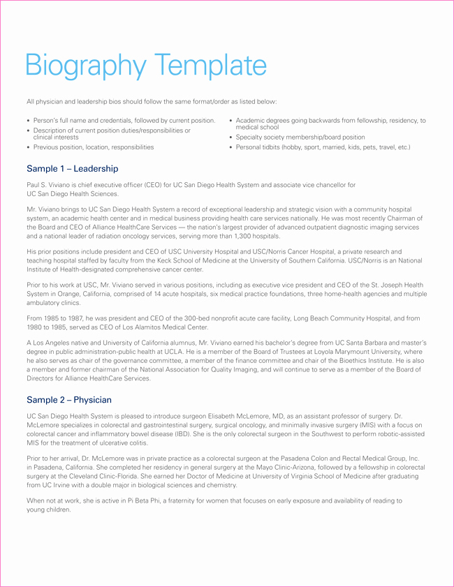 Biographical Sketch Example for Scholarship Fresh 38 Biography Templates with Download In Word & Pdf