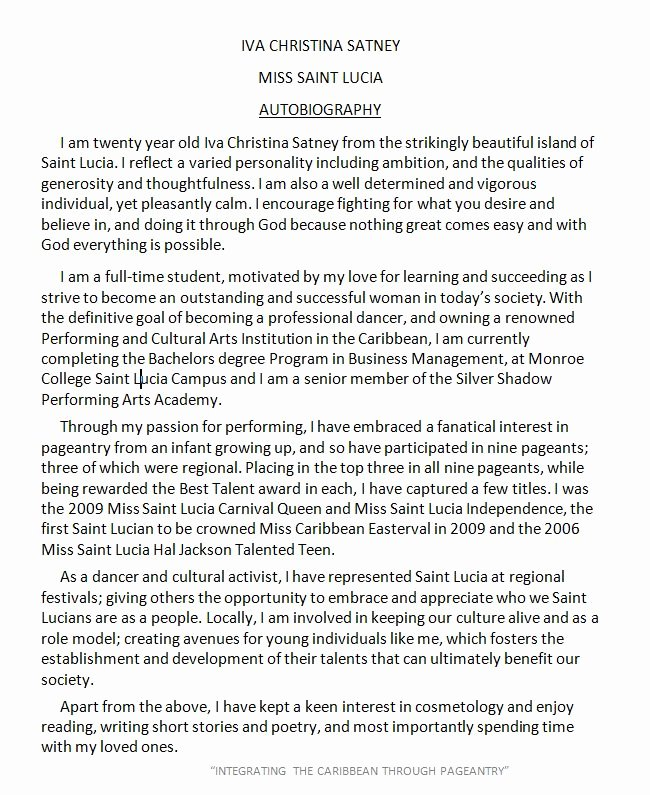 Biographical Sketch Example for Scholarship Inspirational Autobiography Example Layouts