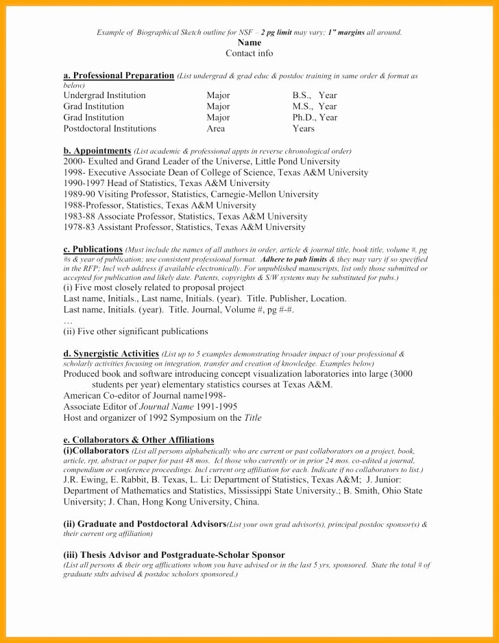 Biographical Sketch Example for Scholarship Lovely Biographical Sketch Example for Students and format with