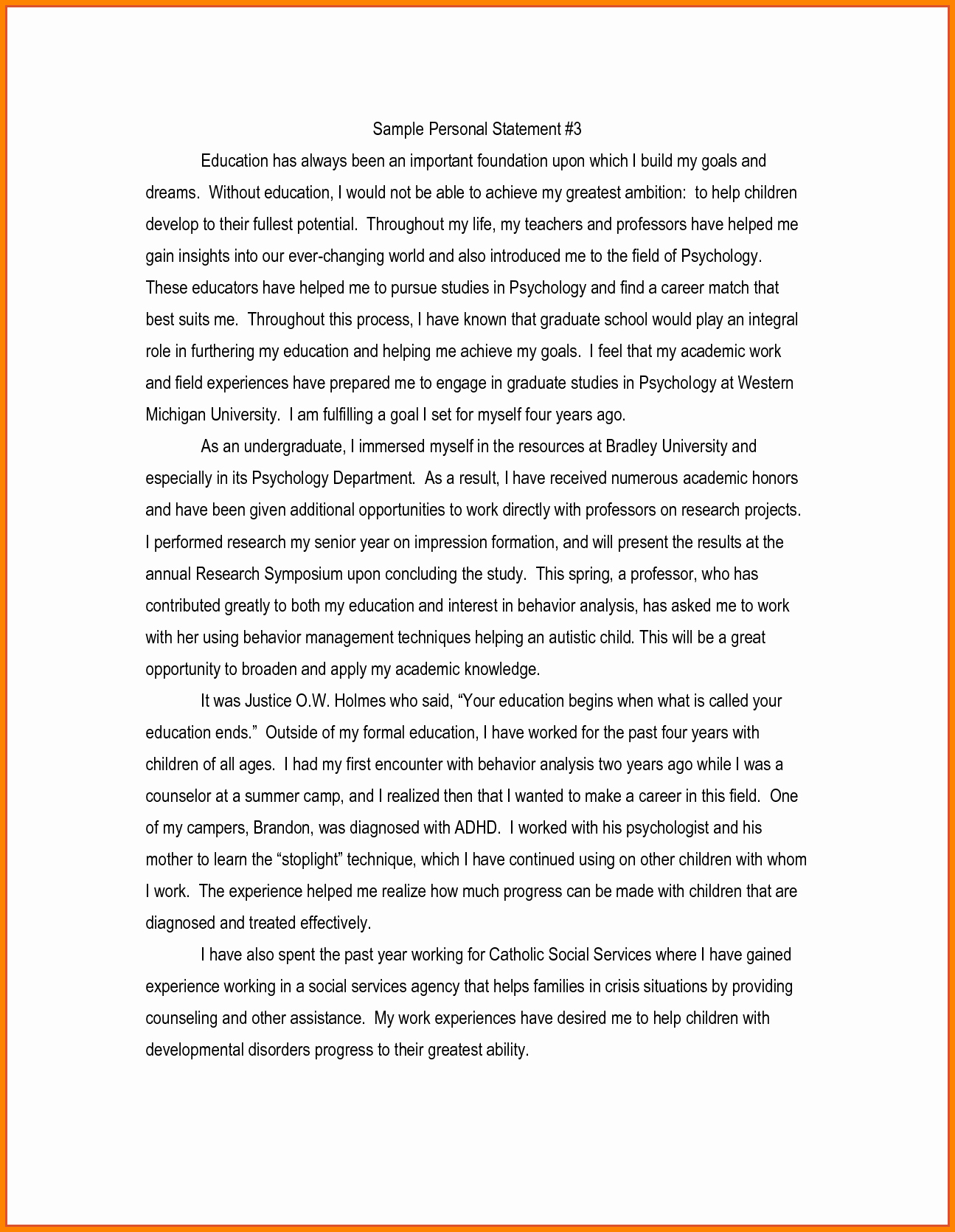Biographical Sketch Example for Scholarship New 7 Sample Personal Statements