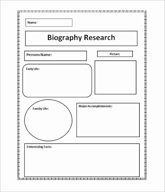 Biography Report Outline Awesome Image Result for Biography Template Pdf