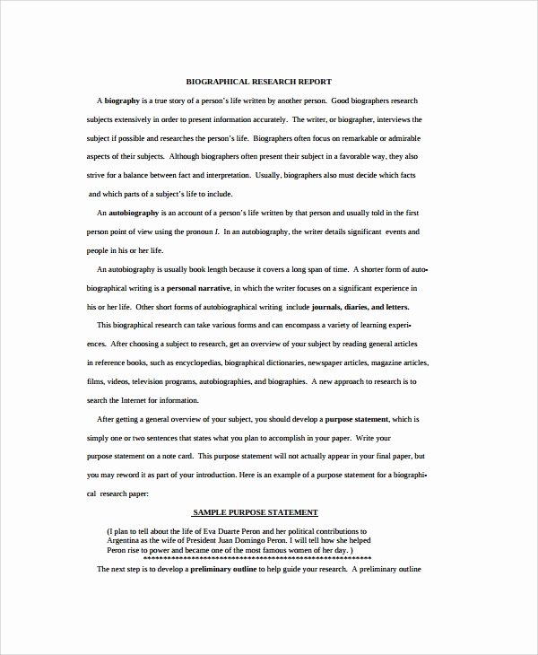 Biography Report Outline Beautiful 8 Biography Report Templates