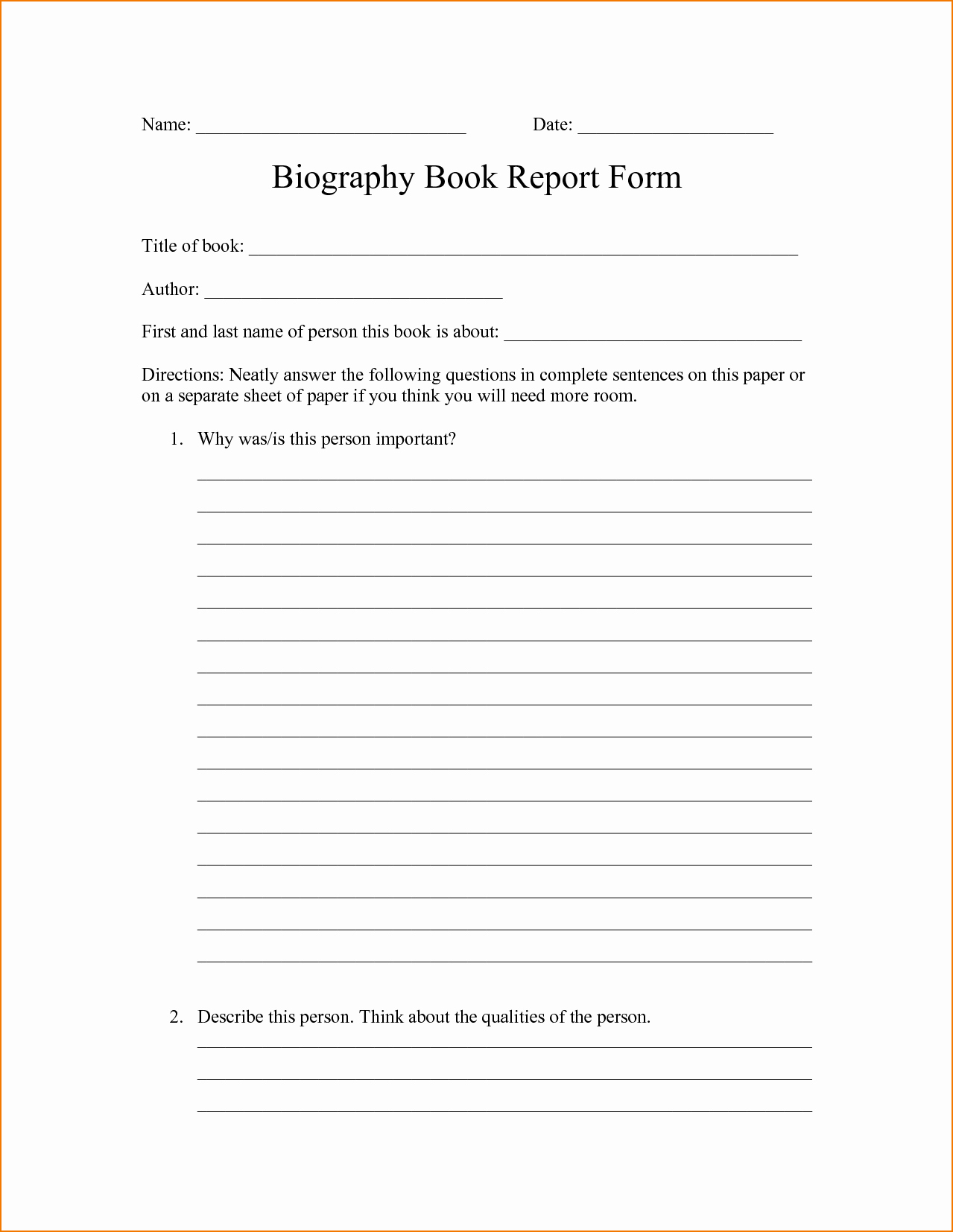 Biography Report Outline Lovely 4 Biography Report Template