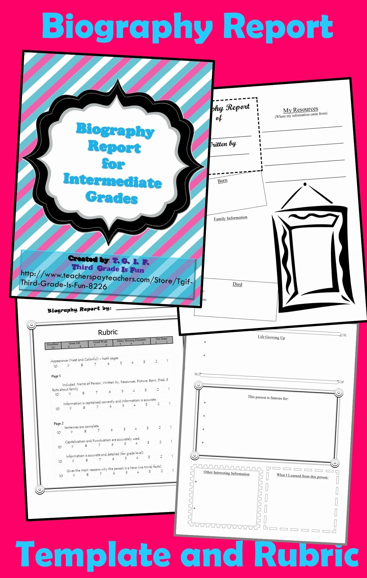 Biography Report Outline New Biography Report Template for Intermediate Grade