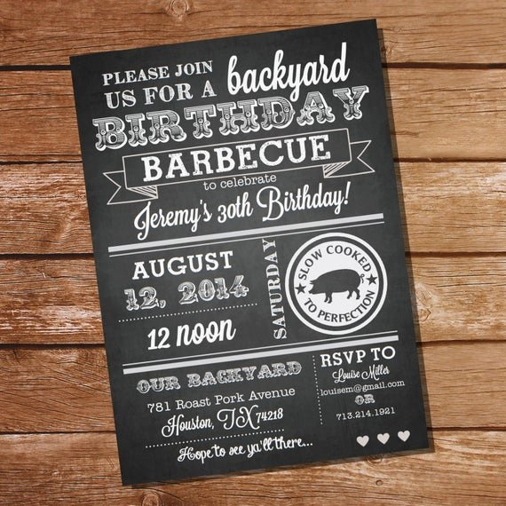 Birthday Chalkboard Template Awesome Chalkboard Birthday Bbq Invitation Instantly