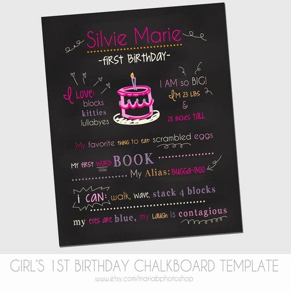 Birthday Chalkboard Template Inspirational Items Similar to Girl S First Birthday Chalkboard Template