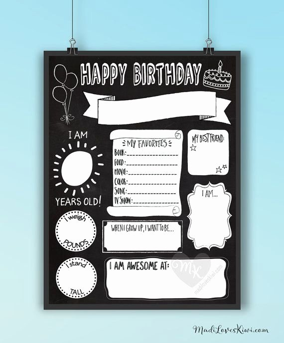 Birthday Chalkboard Template Lovely Birthday Chalkboard Template Reuseable Birthday Sign