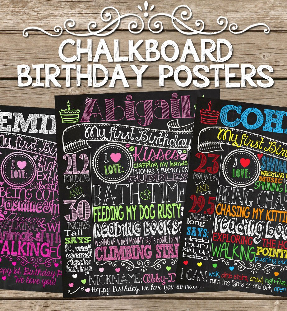 Birthday Chalkboard Template New Chalkboard Birthday Sign Customized Birthday Chalkboard Poster