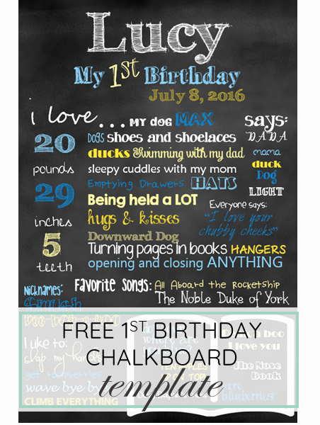 Birthday Chalkboard Template Unique First Birthday Chalkboard Template Free Download for Baby