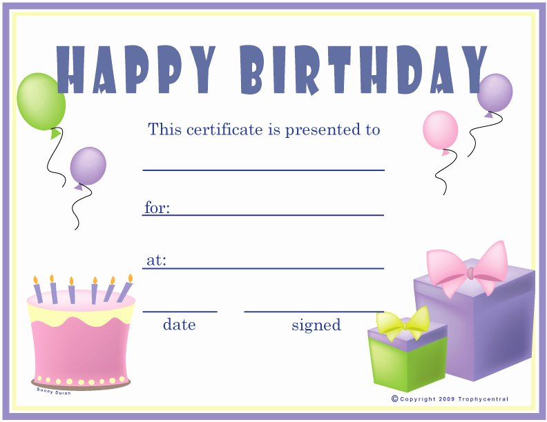 Birthday Coupons Template Beautiful Free Birthday Girl Certificates Certificate Free
